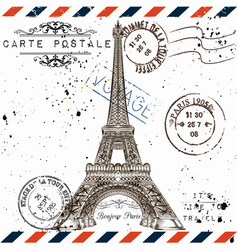 Bonjour paris imitation of vintage post card vector