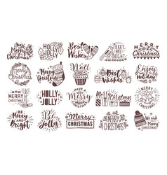 bundle christmas handwritten lettering vector image