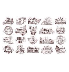 Bundle of christmas handwritten lettering vector