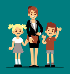 cartoon boy and girl with their first teacher vector image
