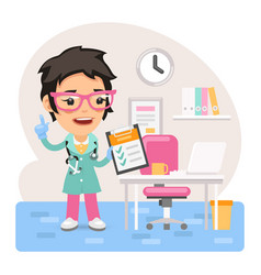 Cartoon female doctor physician in office vector