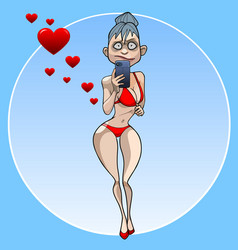 Cartoon funny woman in swimsuit shoots on vector