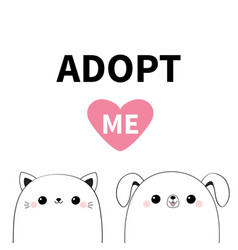 cat dog head face icon set adopt me cute cartoon vector image
