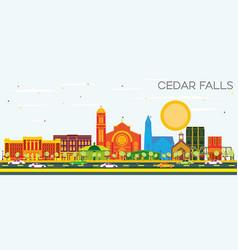 Cedar falls iowa skyline with color buildings and vector