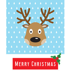 christmas card with cute deer vector image