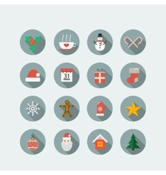 Christmas holiday icon set vector image