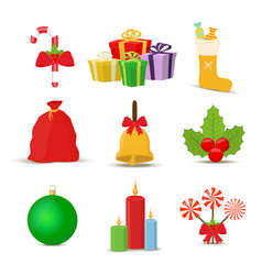 collection of christmas objects cartoon vector image