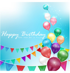 color balloons happy birthday vector image