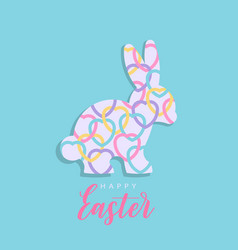 colorful happy easter with hearts rabbit vector image