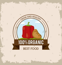 colorful logo of fresh and healthy organic food vector image