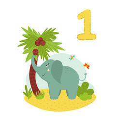 Counting from 1 to 10 number 1 page with colorful vector