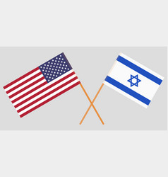 crossed flags israel and usa vector image