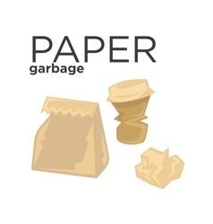 Crumpled paper garbage in rubbish bin Recycle vector