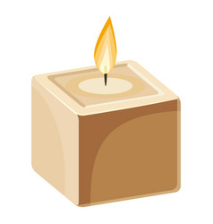 Cube-shape candle icon cartoon style vector