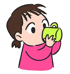 Cute little girl drinking water from glassisolate vector