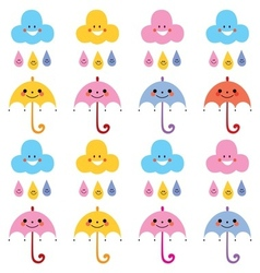 cute umbrellas raindrops clouds characters pattern vector image