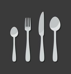 Cutlery icons in flat style vector