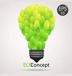 eco lamp lightbulb from green leaves vector image