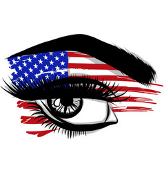 flags usa in beautiful female eye vector image