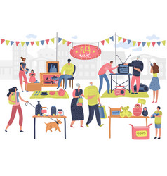 flea market people on fashionable shopping second vector image