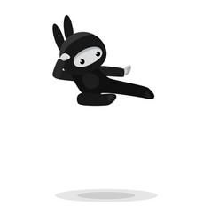 flying cute bunny ninja isolated on white vector image