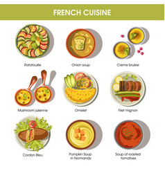 French cuisine food dishes for menu vector