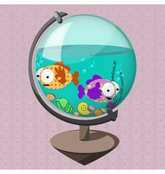 Funny fish in globe-aquarium vector