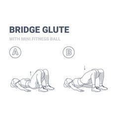 Girl doing glute bridge exercise with fitness mini vector