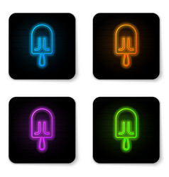 glowing neon ice cream icon isolated on white vector image
