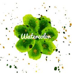green flower splash watercolor hand drawn vector image