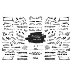 hand drawn elements and borders vector image