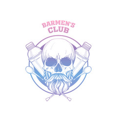 Hand drawn sketch barman skull vector