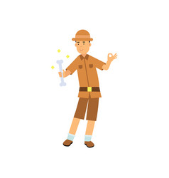 Happy archaeologist character standing with bone vector