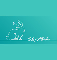 happy easter bunny banner background in simple one vector image