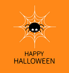 Happy halloweenspider on the web cute cartoon vector