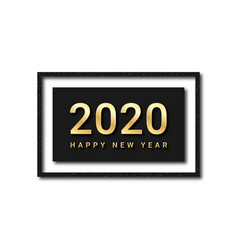 happy new year 2020 golden text with glitters vector image