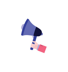 human hand holding a purple megaphone in flat vector image