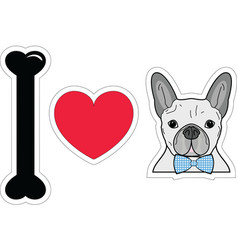 I love French bulldog hipster with blue tie bow vector image