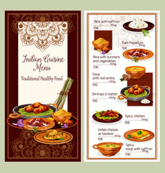 Indian cuisine restaurant menu template design vector