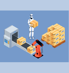 industrial packing system process with robotic arm vector image