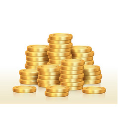 isolated pile golden coins vector image