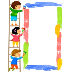 kids painting a frame vector image