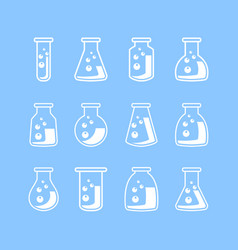 Line laboratory glassware icons vector