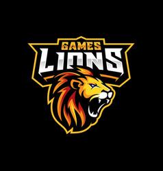 lion head gaming logo vector image