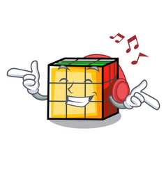 Listening music rubik cube mascot cartoon vector