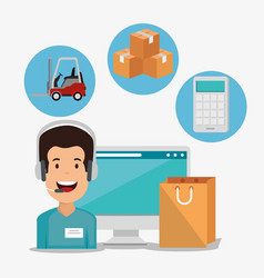 Logistic services with support agent and computer vector