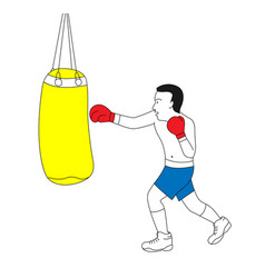 man punching bag on boxing training vector image