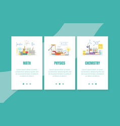 math physics chemistry landing page template vector image
