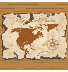 Old parchament map of north america vector