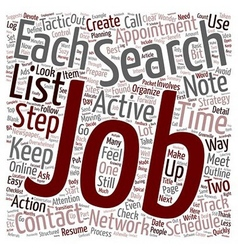 Organize Your Job Search text background wordcloud vector image